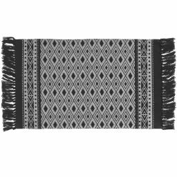 Tapis rectangle a franges 50 x 80 cm coton imprime javana Noir/blanc