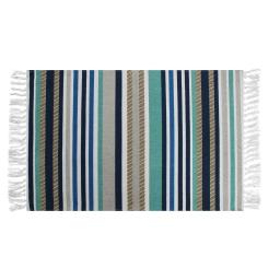 Tapis rectangle a franges 50 x 80 cm coton imprime matelot Bleu