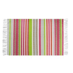 Tapis rectangle a franges 50 x 80 cm coton imprime matelot Rose