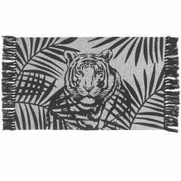 Tapis rectangle a franges 50 x 80 cm coton imprime shivana Noir/blanc