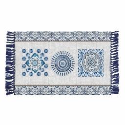tapis rectangle a franges 50 x 80 cm coton imprime trikala