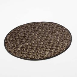 Tapis rond (0) 90 cm velours imprime or graphigold Noir