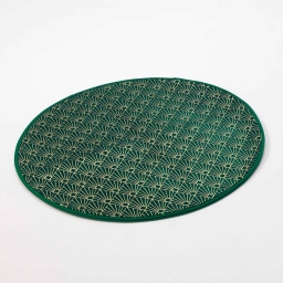 Tapis rond (0) 90 cm velours imprime or graphigold Vert