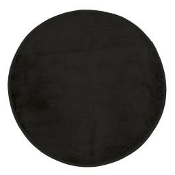 Tapis rond (0) 90 cm velours uni kalina Noir