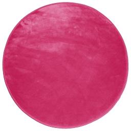 Tapis rond (0) 90 cm velours uni louna Framboise