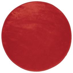Tapis rond (0) 90 cm velours uni louna Rouge