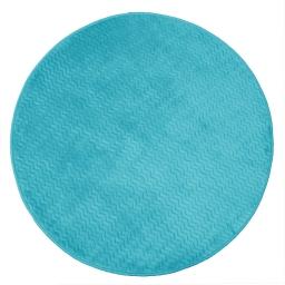 Tapis rond (0) 90 cm velours uni zigga Bleu