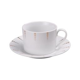 tasse 22cl + sous tasse en porcelaine - dessin poussiere d'or