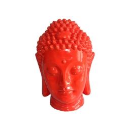 tete bouddha magnesie 32*31*h42.5cm rouge