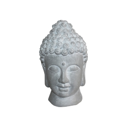 tete de bouddha magnesie 20*20*h32cm blanc