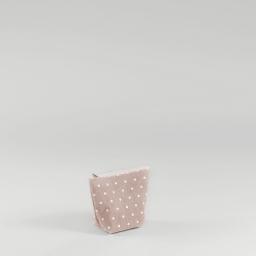 Trousse 17 x 13 cm x ht 7 cm polycoton imprime alicia Rose/Blanc