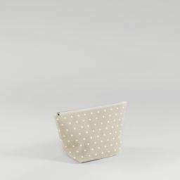 Trousse 29 x 17 cm x ht 12 cm polycoton imprime alicia Lin/Blanc