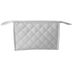 trousse de toilette matelassée microfibre 24*h15,5cm glitter home blanc