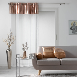 Voilage a oeillets 140 x 240 cm + haut brillant Blanc/Or rose