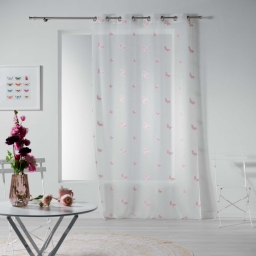 voilage a oeillets 140 x 240 cm voile sable brode nymphea Rose