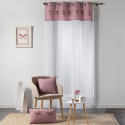 Voilage a oeillets 140 x 240 cm voile sable+top velours+noeuds veloutine Rose