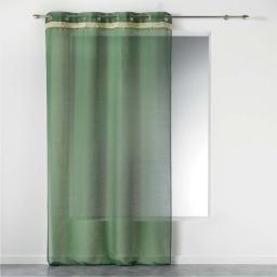Voilage vert a oeillets 140 x 240 cm +  franges frangy